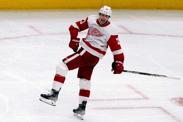 Red Wings rookie Raymond, 19, scores hat trick
