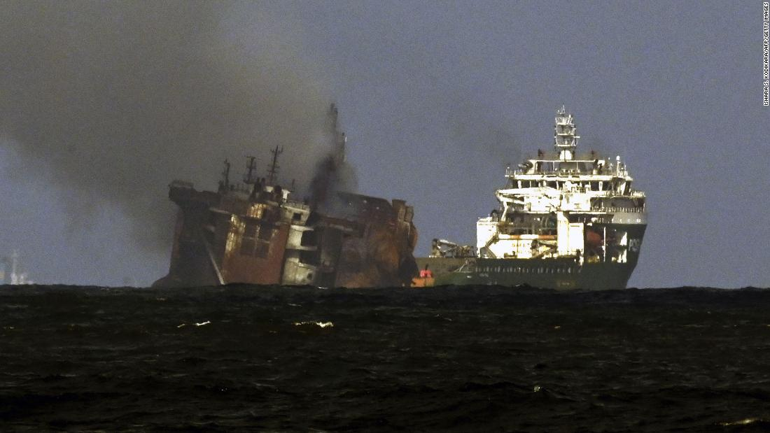Cargo ship that burnt for 13 days off coast of Sri Lanka is now sinking